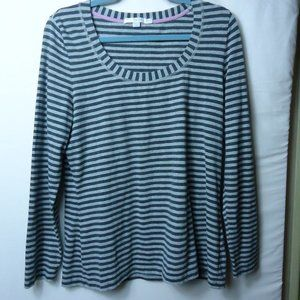 Boden Gray Tonal Stripe LS Scoop Neck Top Size 14